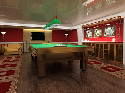 home game room in a basement